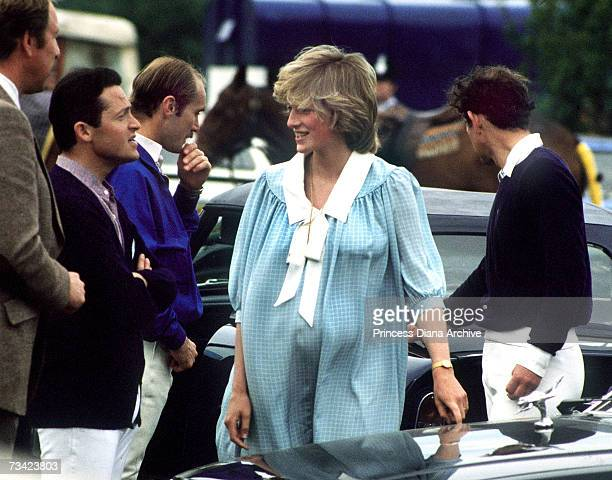 Very pregnant Princess of Wales at the Guards Polo Club in Windsor, May 1982. She wears a maternity dress by Catherine Walker.