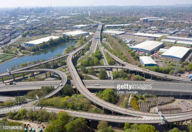 Very quiet Spaghetti Junction in Birmingham, the famous junction linking the A38 with M6 usually carries over 210,000 vehicles a day. April 24, 2020...