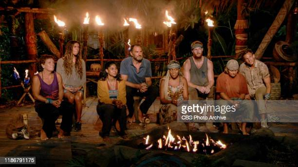 A Very Simple Plan Janet Carbin Noura Salman Karishma Patel Dan Spilo Lauren Beck Tommy Sheehan Elaine Stott and Dean Kowalski at Tribal Council on...
