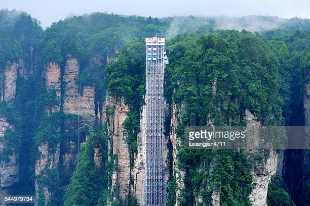 Very spectacular sightseeing elevator in the mountains