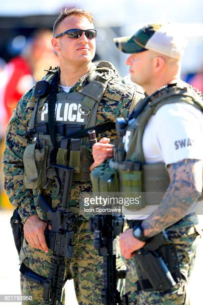 A very visible police presence during the 60th running of the Daytona 500 on February 18 at the Daytona International Speedway in Daytona Beach FL