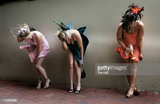 A very windy Oaks Day at Flemington created havoc for these fashionably dressed ladies as they fought the elements and tried to maintain their...