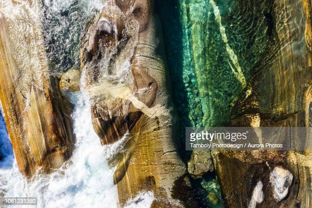 verzasca river seen from above, valle verzasca, switzerland - ticino canton stock pictures, royalty-free photos & images