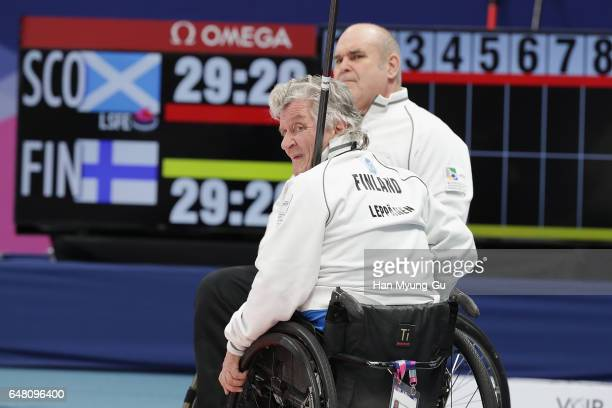 Vesa Leppanen from Finland reacts during the World Wheelchair Curling  Championship 2017 test event for PyeongChang 1fcdb6137d