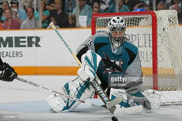 Vesa Toskala of the San Jose Sharks blocks a shot during game five of the Western Conference Semifinals against the Edmonton Oilers on May 14 2006 at...