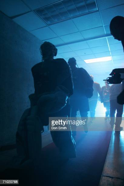Vesa Toskala of the San Jose Sharks leads the Sharks players out of the locker room prior to the start of game five of the Western Conference...