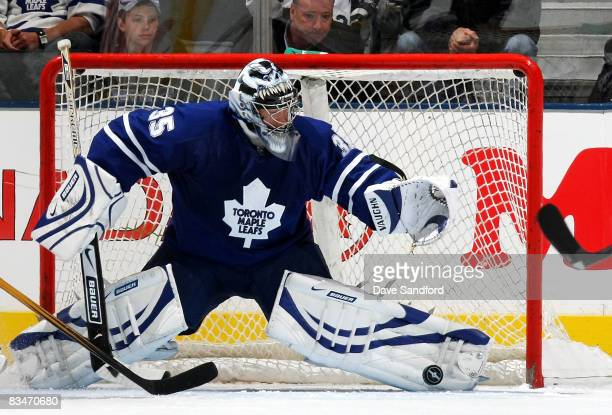 Vesa Toskala of the Toronto Maple Leafs makes a save against the Tampa Bay Lightning during their NHL game at the Air Canada Centre October 28 2008...