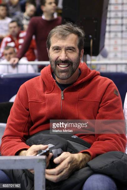 Veselin Vujovic former Yugoslav handball player attends the 2016/2017 Turkish Airlines EuroLeague Regular Season Round 21 game between Crvena Zvezda...