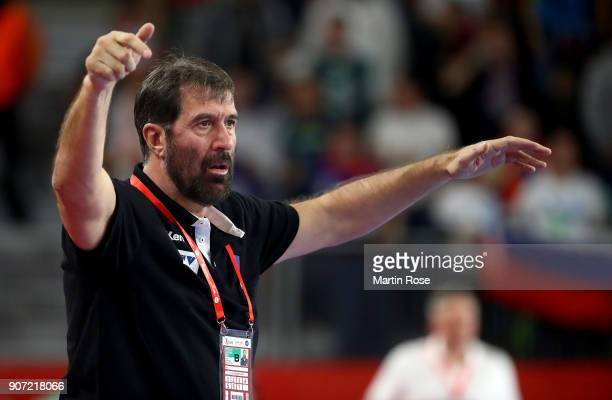 Veselin Vujovic head coach of Slovenia gestures during the Men's Handball European Championship main round match between Slovenia and Denmark at...