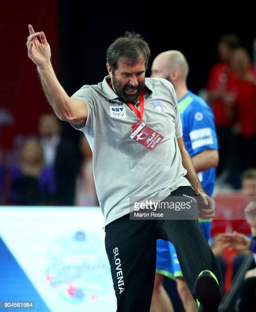 Veselin Vujovic head coach of Slovenia reacts during the Men's Handball European Championship Group C match between Macedonia and Slovenia at Arena...