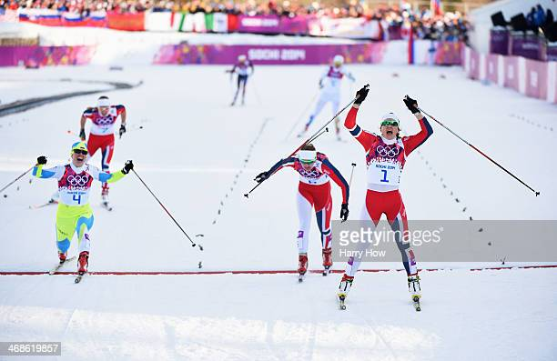 Vesna Fabjan of Slovenia wins third place Ingvild Flugstad Oestberg of Norway wins second place and Maiken Caspersen Falla of Norway wins first place...