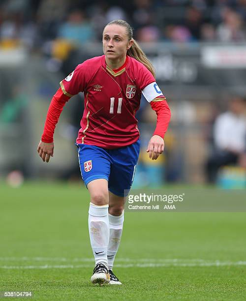 Vesna Smiljkovic of Serbia during the UEFA Women's European Championship Qualifier match between England and Serbia at Adams Park on June 4 2016 in...