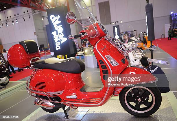 Vespa motorbike is displayed in The 23rd Indonesia International Motor Show at JI EXPO Kemayoran on August 19 2015 in Jakarta Indonesia The 23rd IIMS...