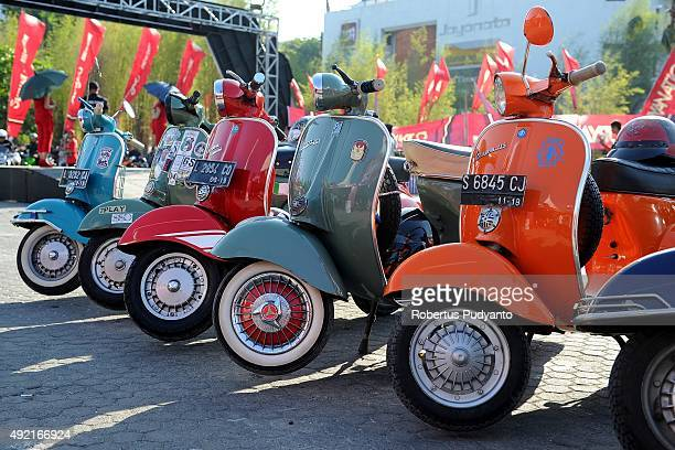 Vespa motorcycles are displayed during 2015 Suryanation Motorland Custom Bike Show on October 10 2015 in Surabaya Indonesia Hundreds bikers...