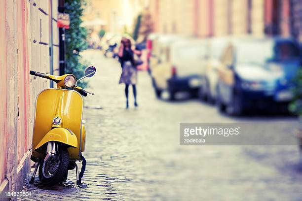 vespa scooter in rome, italy - roma stock photos and pictures