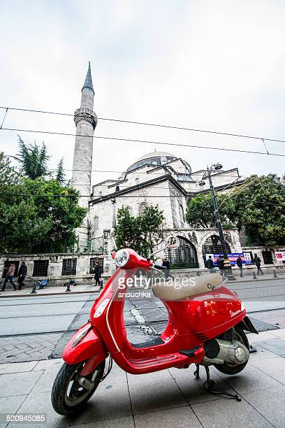 vespa scooter parked in front of mosque, istanbul - vespa brand name stock pictures, royalty-free photos & images
