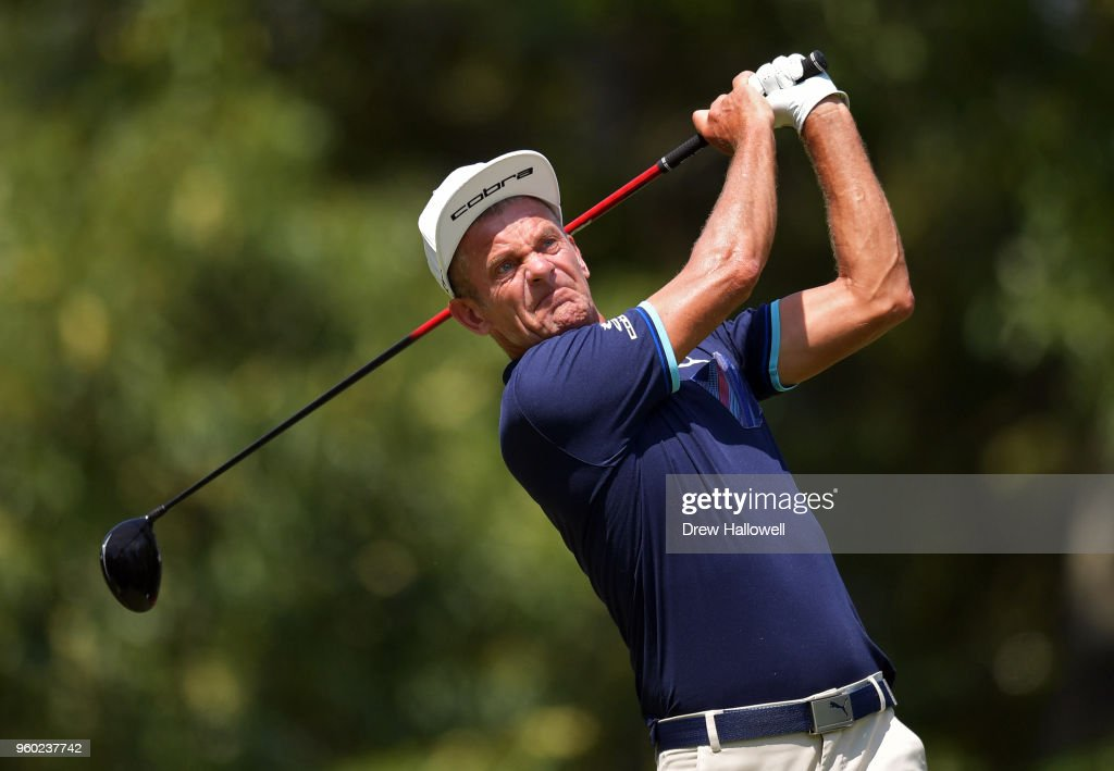 Vesper Parnevik of Sweden plays a shot on the 13th hole during the third round of the Regions Tradition at Greystone Golf & Country Club on May 19, 2018 in Birmingham, Alabama.
