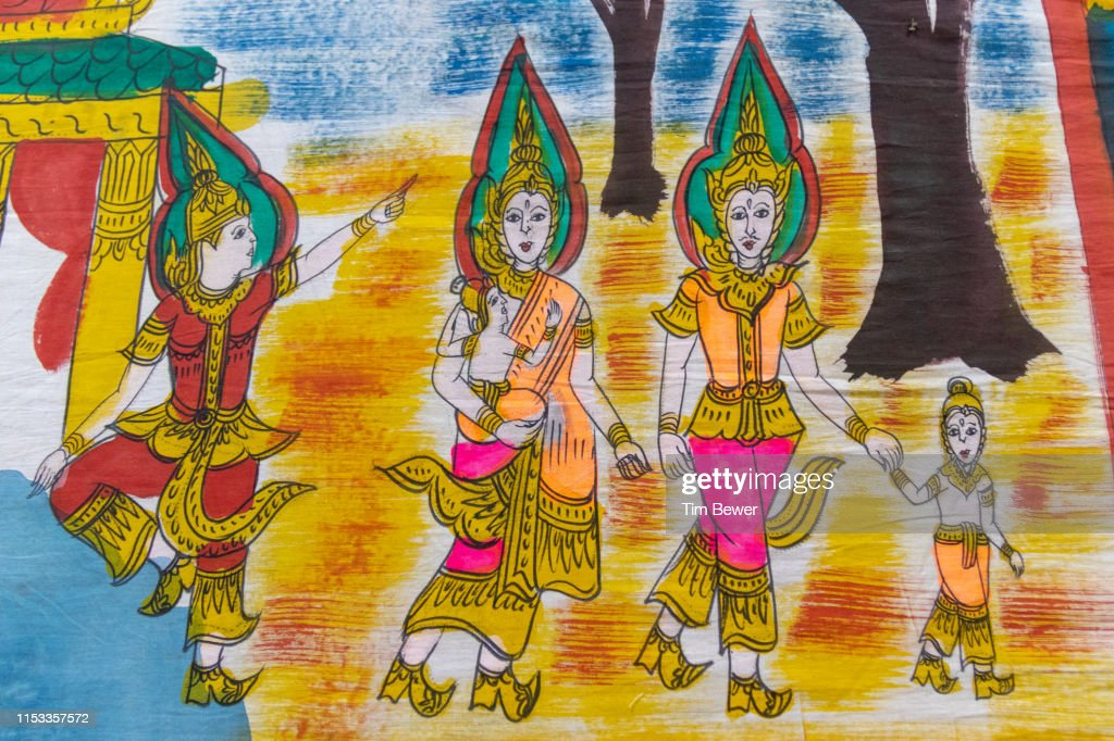 Vessantara Jataka banner for Boon Pha Wet festival. : Stock Photo