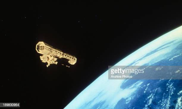A vessel floats in space in a scene from the film '2001 A Space Odyssey' 1968