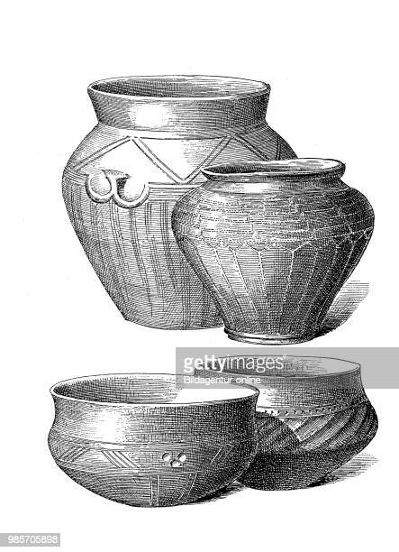 Vessels from the Roman period various urn vessels made of clay Germany digital improved reproduction of a woodcut publication in the year 1885