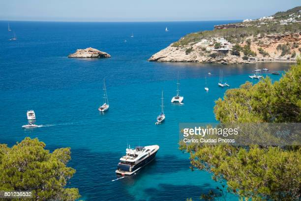 vessels in cala d'hort during summer, ibiza, spain - pinacee foto e immagini stock
