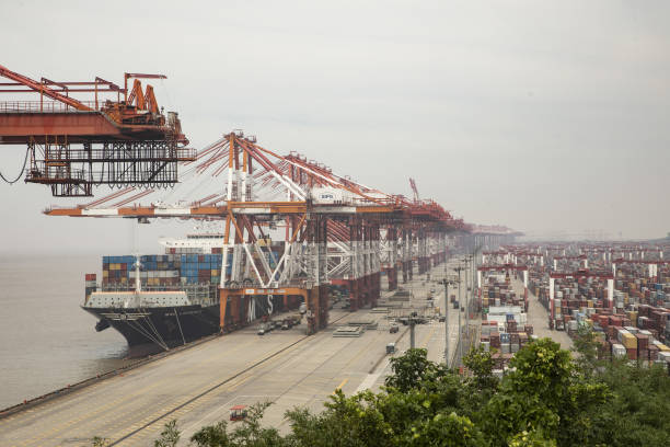 CHN: Views of the Yangshan Container Port Ahead of China Trade Figures