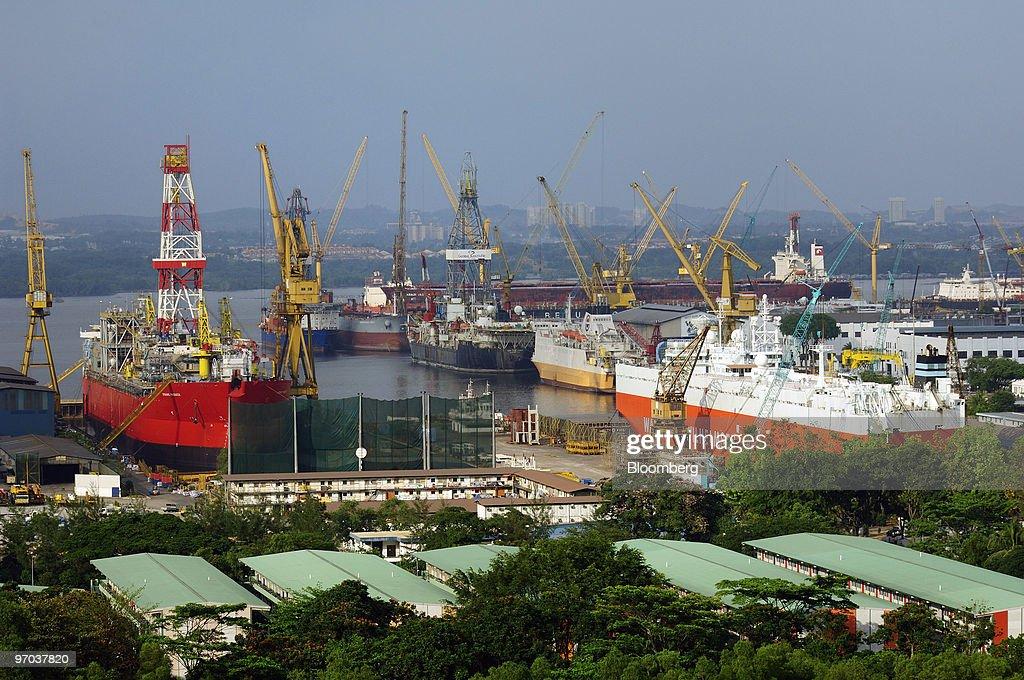 Vessels undergo repairs at Sembcorp Marine Ltd 's Sembawang
