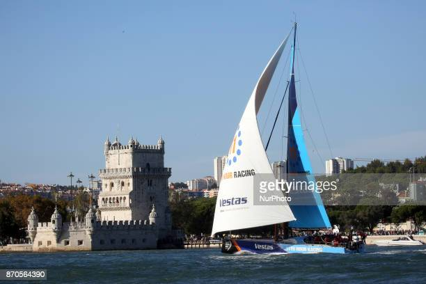 Vestas 11th Hour Racing team captained by American Charlie Enright in action during the Volvo Ocean Race 20172018 Leg 2 start from Lisbon to Cape...