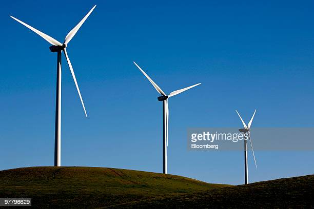 Vestas Wind Systems A/S 415foottall wind turbines operate at the Sacramento Municipal Utility District 102 megawatt wind farm in Rio Vista California...