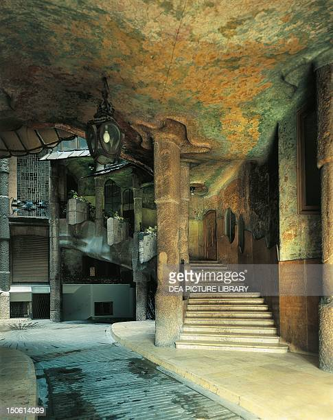 Vestibule and Staircase Mila House known as La Pedrera Barcelona by architect Antoni Gaudi Spain 20th century