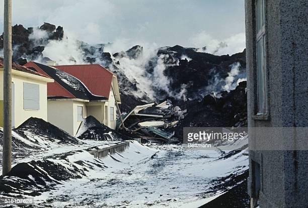 Vestmannaeyjar Heimey Island ICeland Continuing flow of lava from Helgafjell Volcano on Heimey Island off the coast of Iceland moves toward...