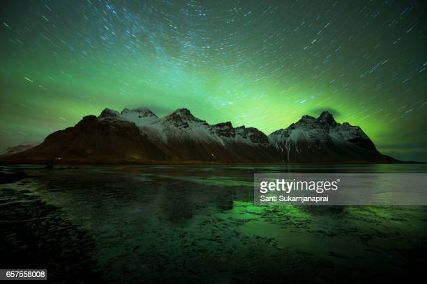 Vesturhorn and the northern lights, Iceland