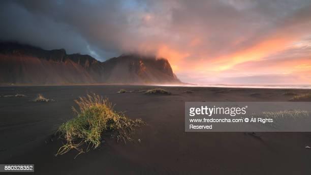 Vesturhorn Mountain And Black Sand Dunes