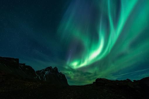 Vesturhorn Mountain with aurora - gettyimageskorea
