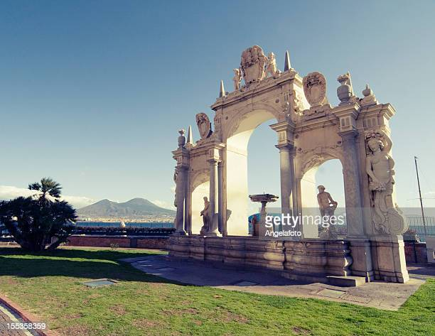 Vesuvius and Historical Fountain in Santa Lucia, Naples