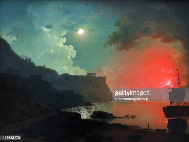 Vesuvius from Posillipo oil on canvas c 1788 by Joseph Wright of Derby on display in the Yale Centre for British Art New Haven Connecticut USA Joseph...