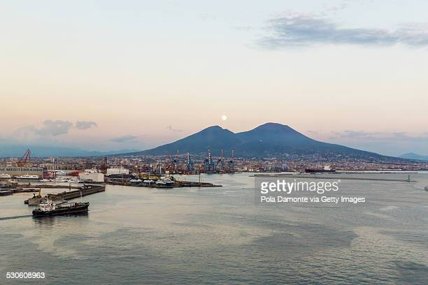 Vesuvius mount and moon