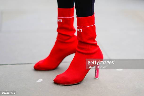 Vetements red shoes during London Fashion Week February 2018 on February 18 2018 in London England