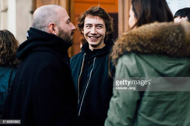 Vetements/Balenciaga designer Demnia Gvasalia and Paul Hameline after the Gosha Rubchinskiy show on Day 2 of Paris Fashion Week Mens on January 21...