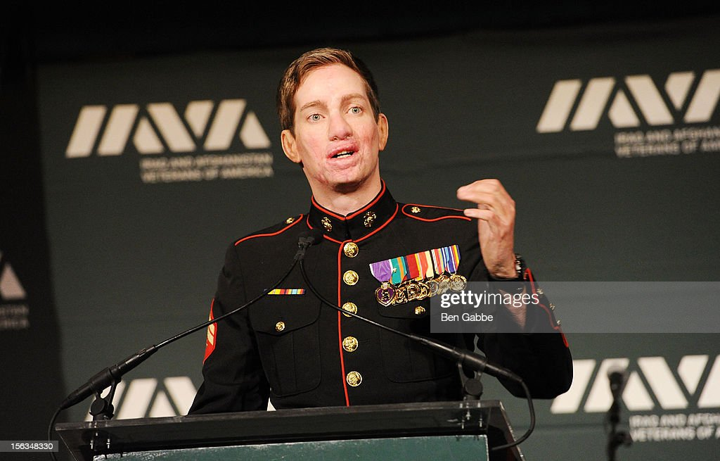 Veteran Aaron Mankin speaks at IAVA's Sixth Annual Heroes Gala at Cipriani 42nd Street on November 13, 2012 in New York City.