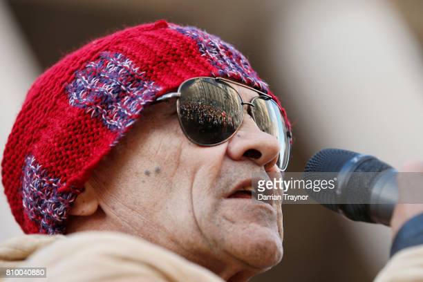 Veteran Aboriginal activist Robbie Thorpe speaks to the large crowd on the steps of Parliament House during the 2017 NAIDOC March on July 7 2017 in...