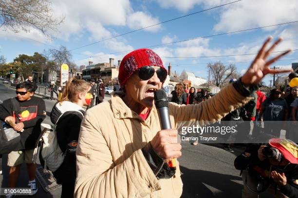 Veteran Aboriginal activist Robbie Thorpe speaks to the large crowd just before the 2017 NAIDOC March on July 7 2017 in Melbourne Australia The march...