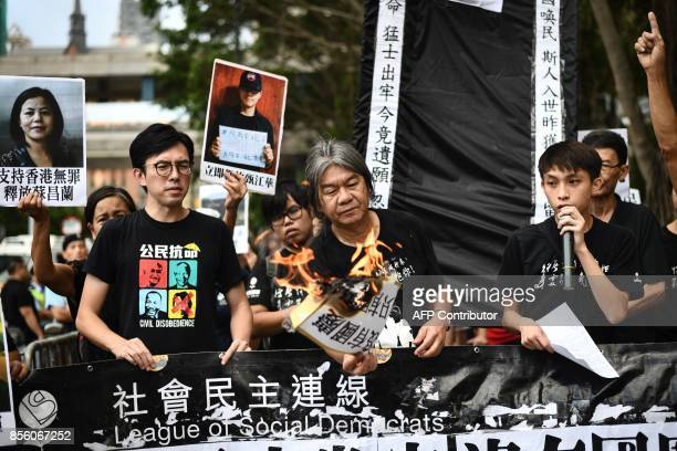 Veteran activist and former Hong Kong lawmaker Leung Kwok-hung , also known as 'Long Hair', and Avery Leung , chairman of the League of Social...