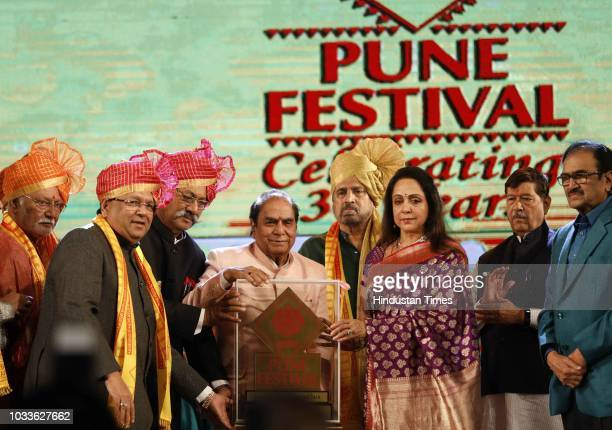 Veteran actor and MP Hema Malini during an inauguration of Pune Festival at Ganesh Kala Krida on September 14 2018 in Pune India The Pune Festival is...