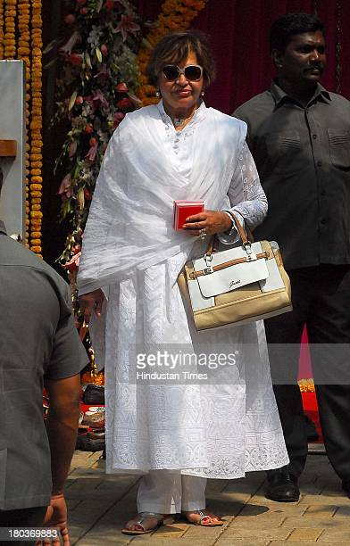 Veteran actor and Salman Khan's mother Helen dressed in a white suit during Ganpati immersion ceremony at her daughter Alvira's residence Bandra on...