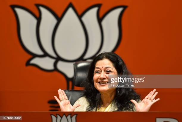 Veteran actor Moushumi Chatterjee speaks during a press conference after joining the Bharatiya Janata Party at BJP headquarters on January 2 2019 in...