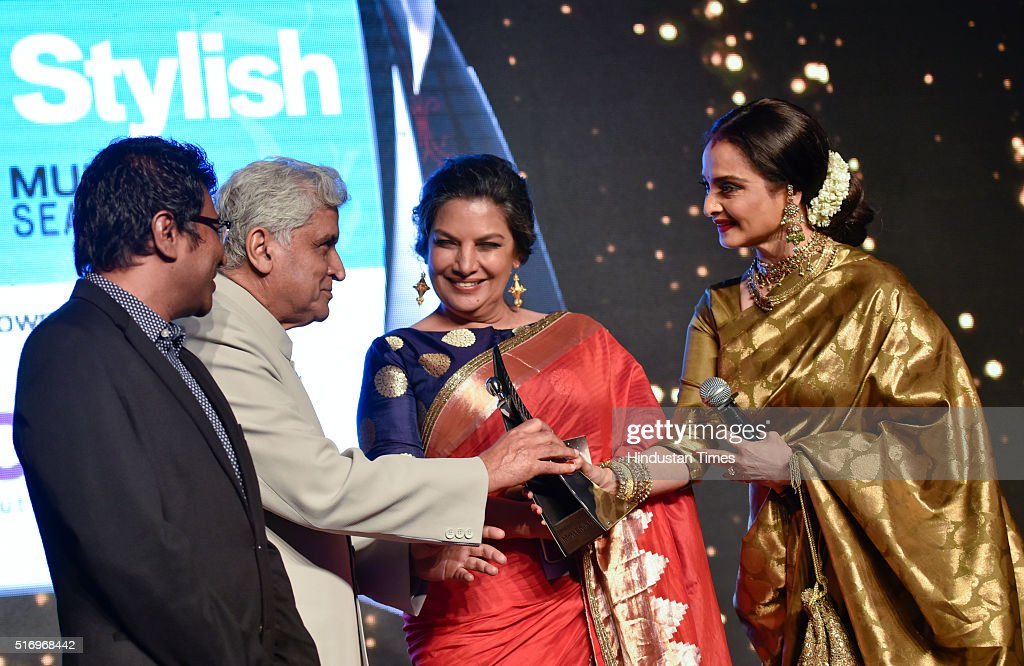 Veteran actor Rekha receives award from Shabana Azmi and Javed Akhtar during Hindustan Times Most Stylish Awards 2016 at Taj Lands End Bandra on...