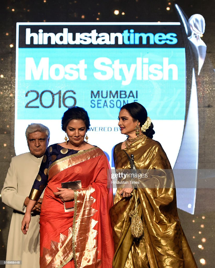 Veteran actor Rekha with Shabana Azmi and Javed Akhtar during Hindustan Times Most Stylish Awards 2016 at Taj Lands End Bandra on March 20 2016 in...