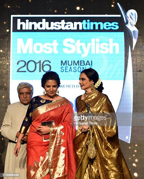 Veteran actor Rekha with Shabana Azmi and Javed Akhtar during Hindustan Times Most Stylish Awards 2016 at Taj Lands End, Bandra on March 20, 2016 in...