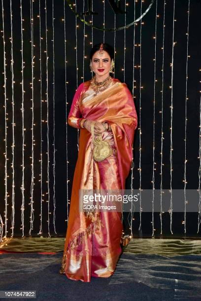 Veteran actress Rekha seen at Priyanka-Nicks wedding reception at hotel Taj Lands End in Mumbai. The newly-married couple, Priyanka Chopra and Nick...